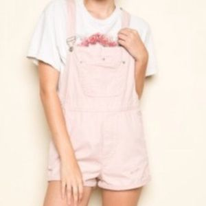 Brandy Melville RARE baby pink shorts overalls